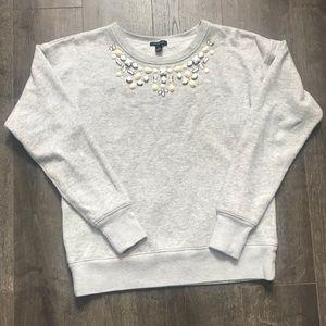 Women's Ann Taylor Jeweled Gray Sweatshirt- Sz XS